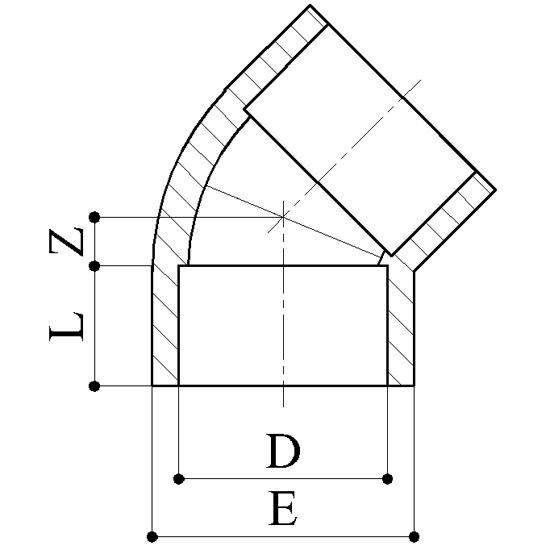 Gomito 45 Raccordi PVC